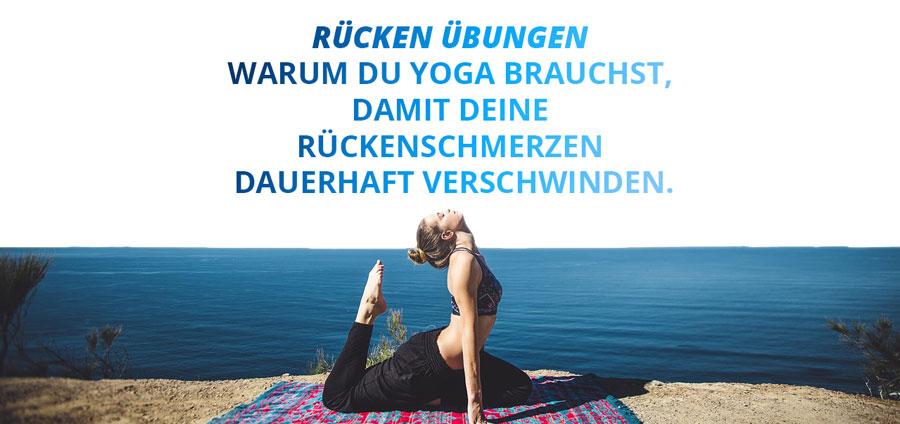 Yoga am Strand + Slogan: Rücken Übungen Warum du Yoga brauchst, damit deine Rückenschmerzen dauerhaft verschwinden.